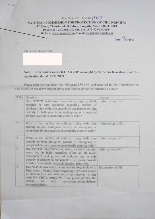 RTI-NCPCR-Reply-Divorce-Effect-Children